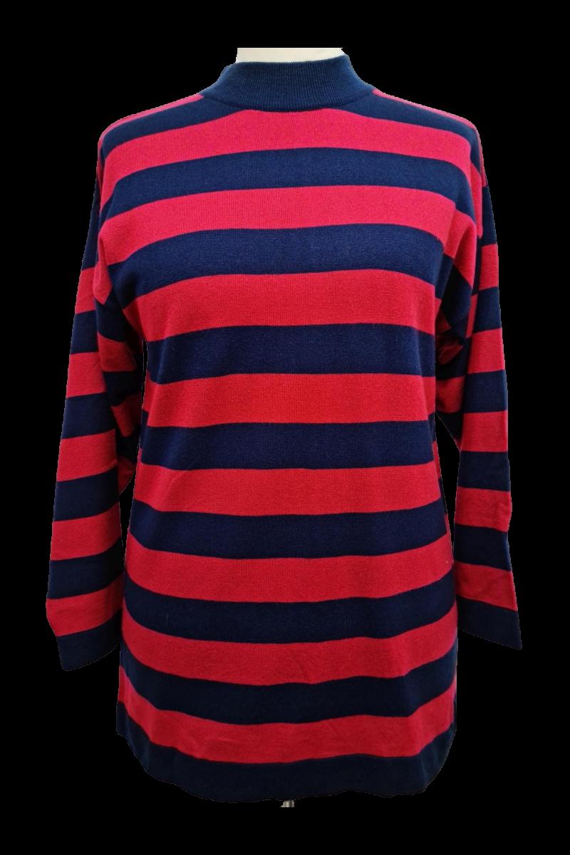 Sötétkék-piros csíkos pulóver