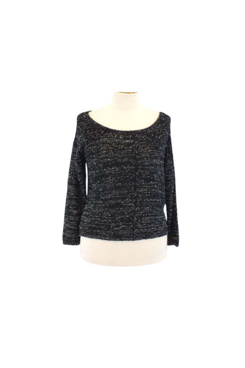 Fekete ezüstszálas ejtett vállú pulóver